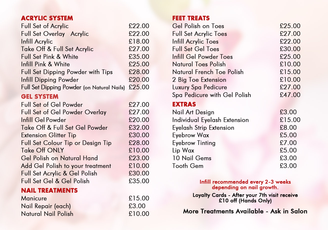 Nail salons in macclesfield cheshire vina nails our for Acrylic nails salon prices